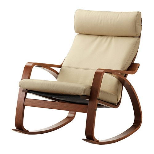 Po ng rocking chair glose off white medium brown ikea for Chaise rocking chair ikea