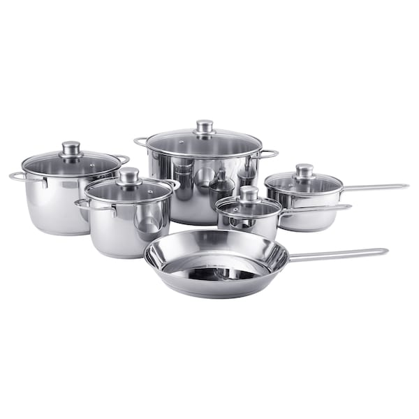 POLERAD 11-piece cookware set, stainless steel