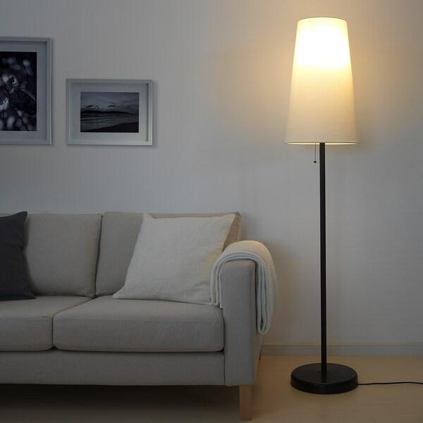 PORTILA Floor lamp with LED bulb, white/dark brown