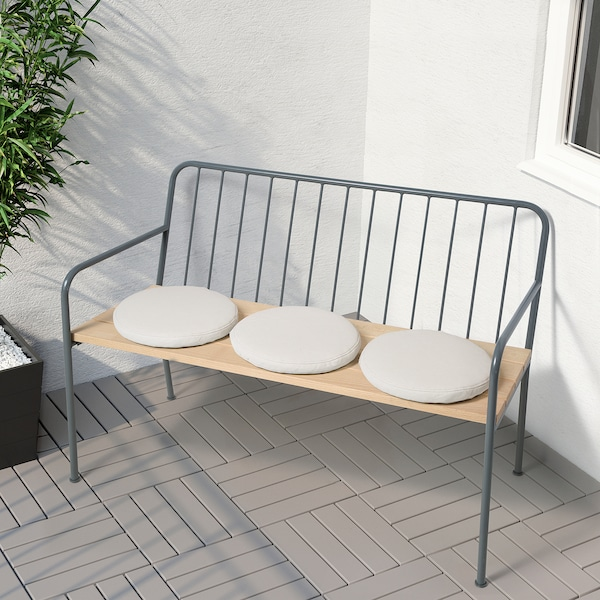 """PRÄSTHOLM bench with backrest, outdoor gray 44 1/2 """" 20 1/2 """" 31 1/8 """" 42 1/8 """" 15 3/8 """" 17 3/8 """""""