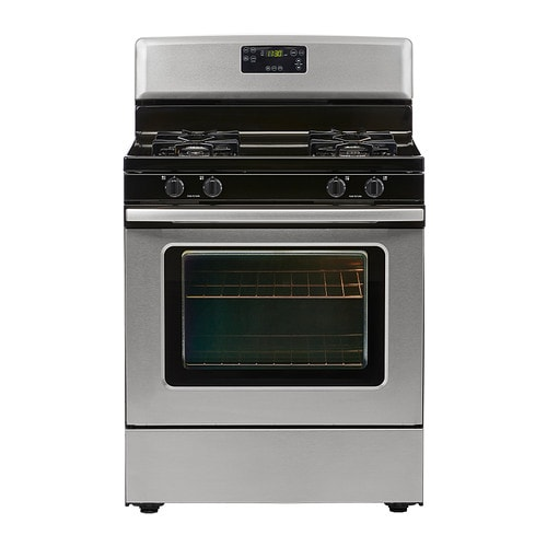 PRAKTFULL Range with gas cooktop, Stainless steel