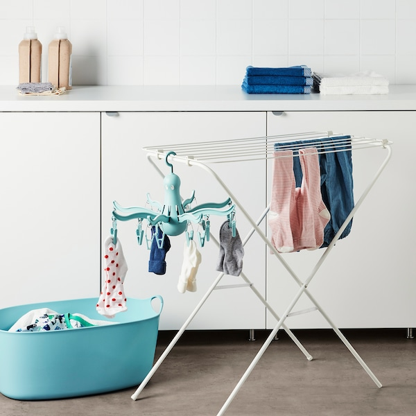 PRESSA Hanging dryer with 16 clothes clips, turquoise