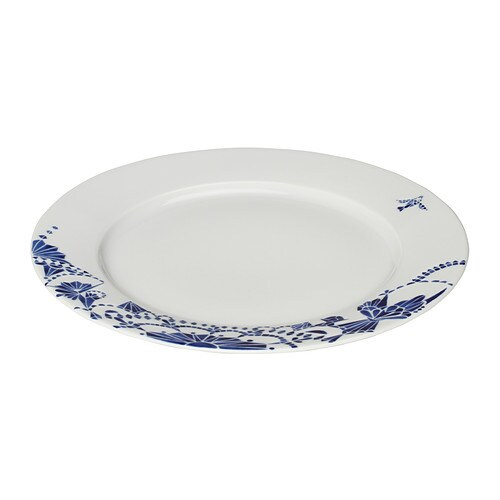 PROMENAD Plate IKEA Classic dinnerware with an unconventional, playful pattern inspired by traditional blue and white porcelain and hand-painted tiles.