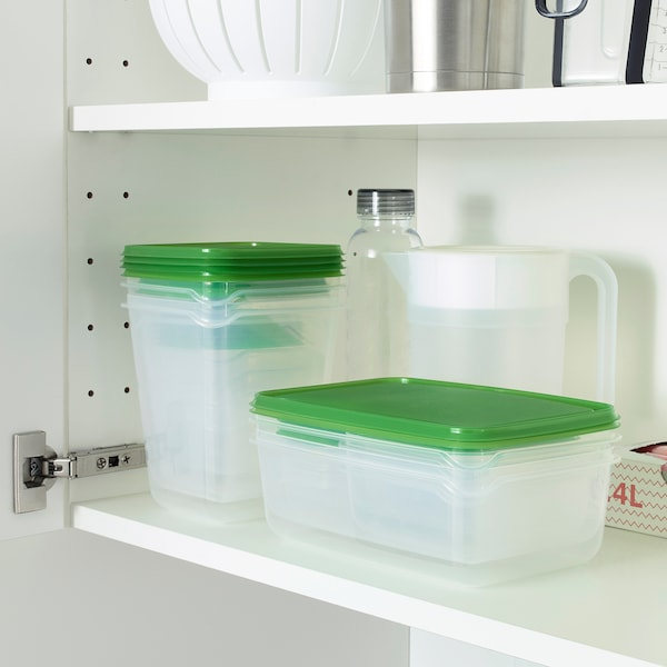 PRUTA food container, set of 17 clear/green