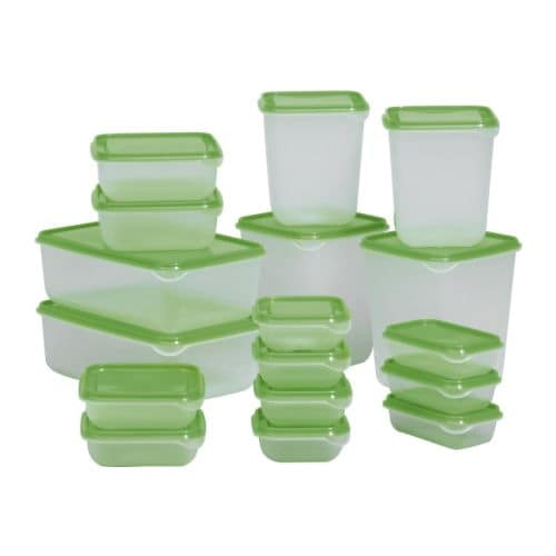 PRUTA Food container, set of 17 IKEA Several empty food containers can be stacked inside one another to save space in your cabinets.  BPA free.