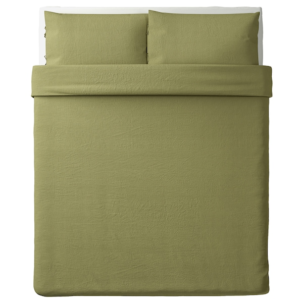 """PUDERVIVA duvet cover and pillowcase(s) light olive-green 104 /inch² 2 pack 86 """" 86 """" 20 """" 30 """""""