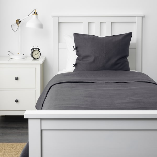 PUDERVIVA Duvet cover and pillowcase(s), dark gray, Twin