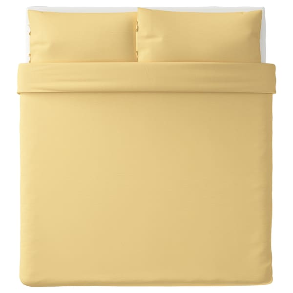 PUDERVIVA Duvet cover and pillowcase(s), light yellow, King