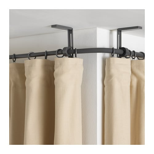 Curtain Rods bay window curtain rods ikea : RÄCKA Curtain rod corner connector - black, - IKEA