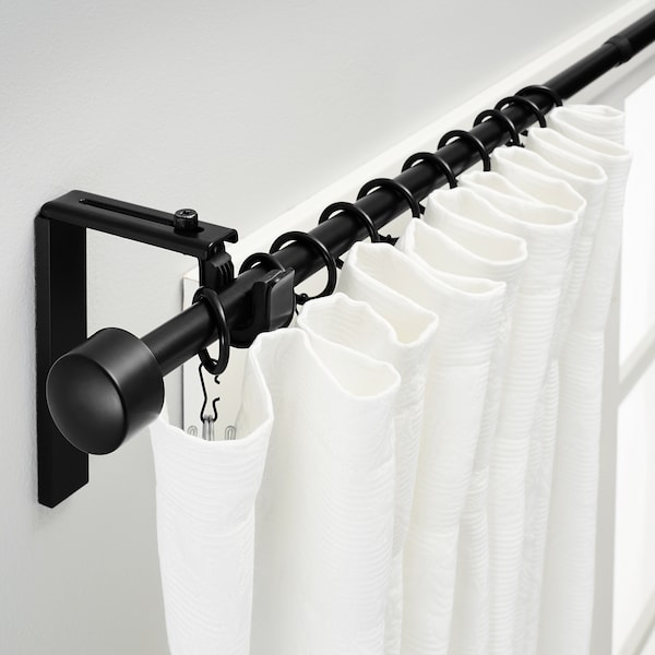 "RÄCKA Curtain rod combination, black, 47 1/4-82 5/8 """