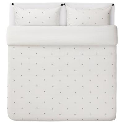 RÄVTÖREL Duvet cover and pillowcase(s), white/black, King