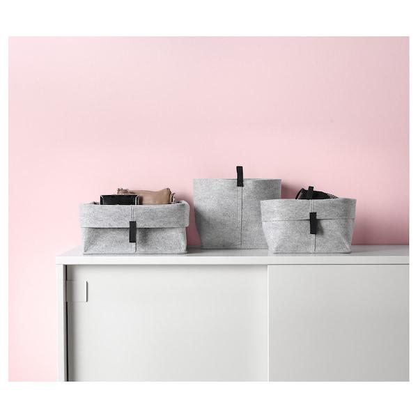 RAGGISAR Basket, set of 3, gray