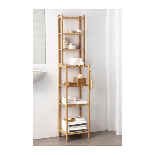 RÅGRUND Shelf unit IKEA Perfect in a small bathroom.  Bamboo is a durable, natural material.