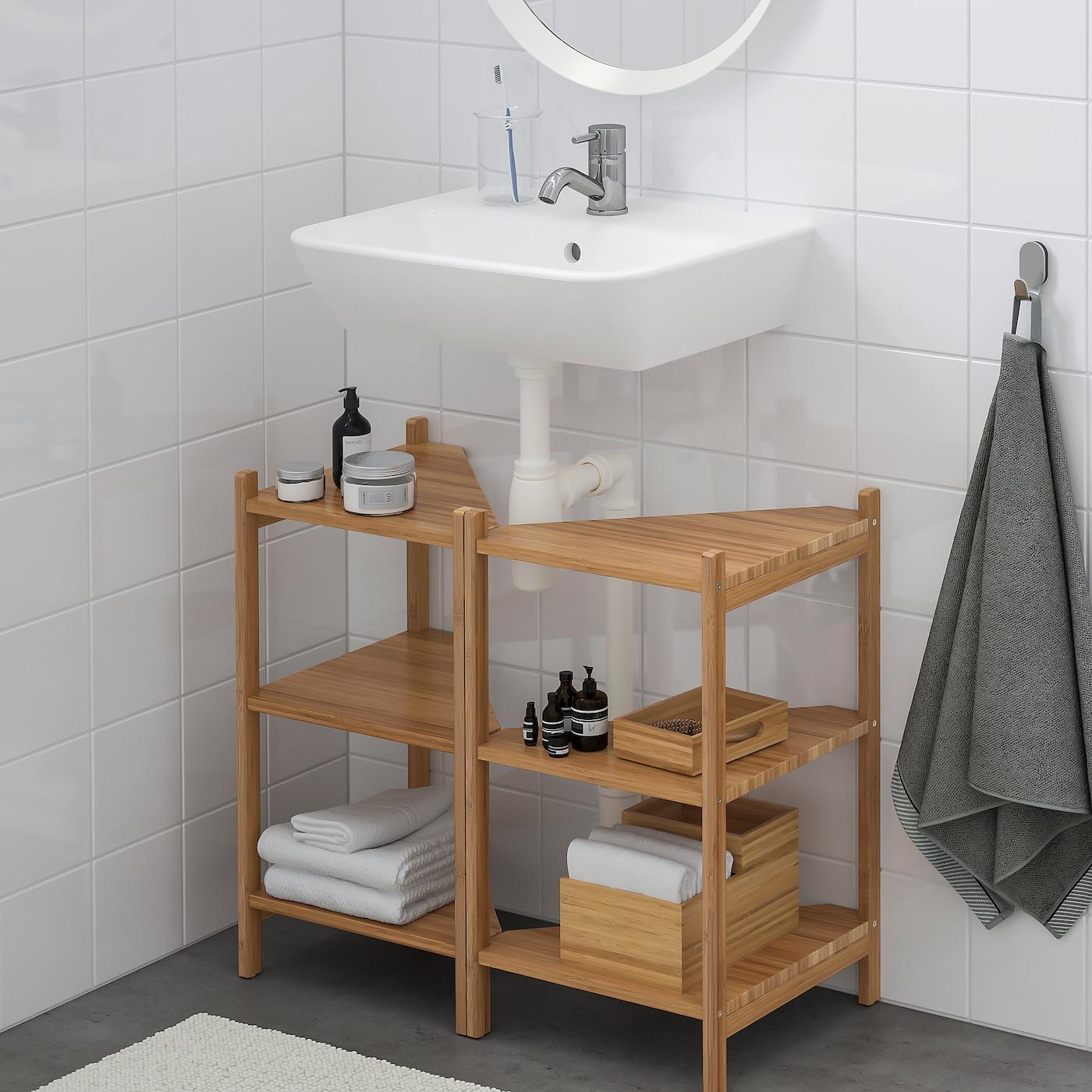 Rågrund Tyngen Sink Shelf Corner Shelf Bamboo Pilkån Faucet Ikea