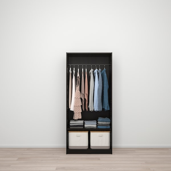 "RAKKESTAD Wardrobe with 2 doors, black-brown, 31 1/8x69 1/4 """