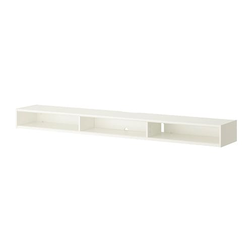 RAMSÄTRA Media shelf IKEA Comes with a panel that can be mounted either behind the shelf to hide cables and cords or in front for concealed storage.