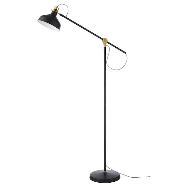 RANARP Floor/reading lamp with LED bulb, black