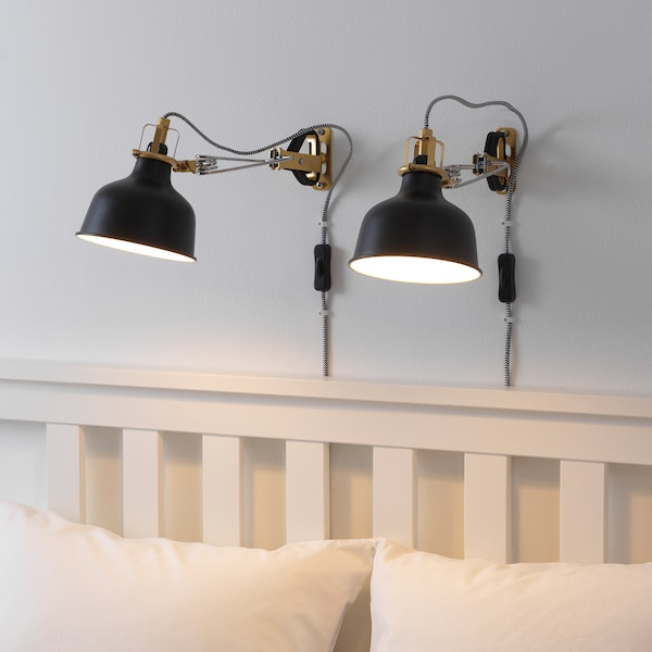 "RANARP wall/clamp spotlight with LED bulb black 7 W 6 "" 13 "" 5 "" 13 "" 138 """
