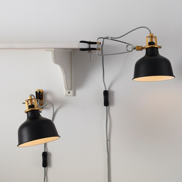 RANARP Wall/clamp spotlight with LED bulb, black