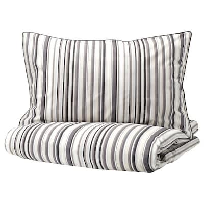 "RANDGRÄS duvet cover and pillowcase(s) gray/stripe 200 /inch² 2 pack 86 "" 86 "" 20 "" 30 """