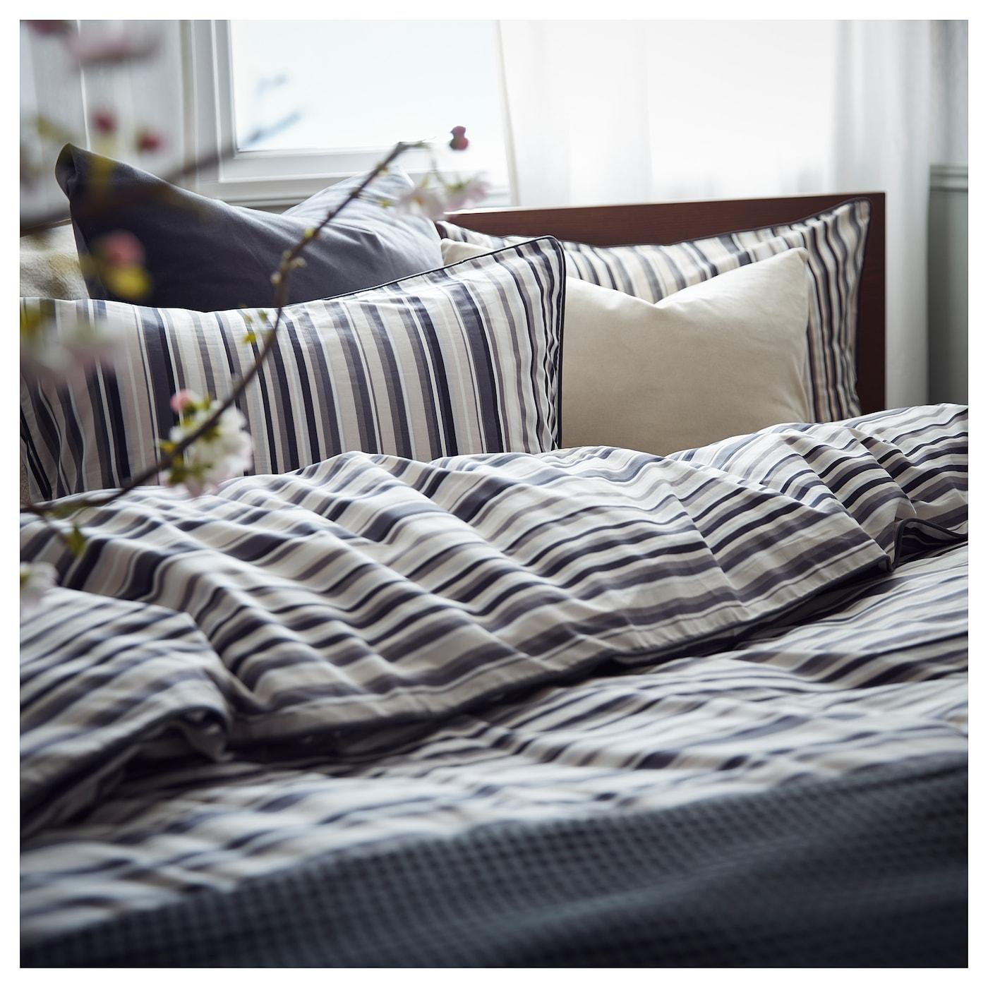 Ikea Rodnarv King size Duvet Cover /& 4 Pillowcases White /& Grey striped