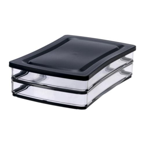 RARITET Food container 2-pack with 1 lid IKEA Two food savers with one lid saves space.