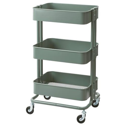 "RÅSKOG utility cart gray-green 13 lb 13 3/4 "" 17 3/4 "" 30 3/4 "" 40 lb"