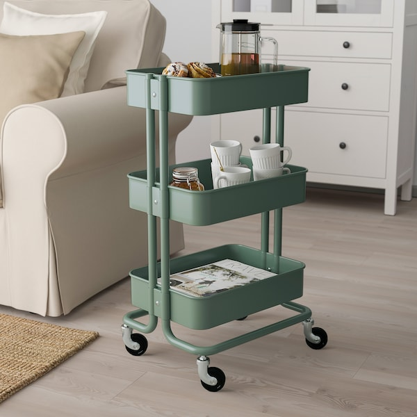 "RÅSKOG utility cart gray-green 13 lb 13 3/4 "" 17 3/4 "" 30 3/4 "" 40 lb"
