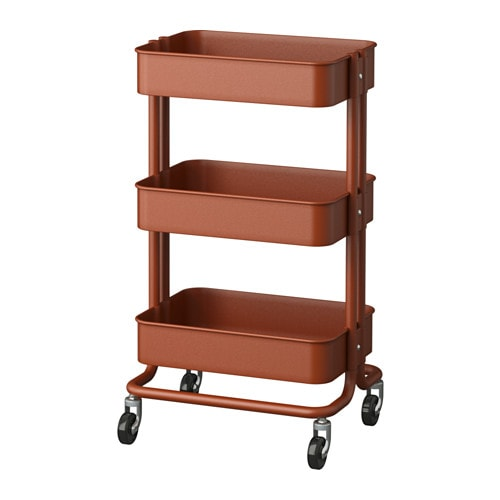 RÅSKOG Utility cart, red/brown