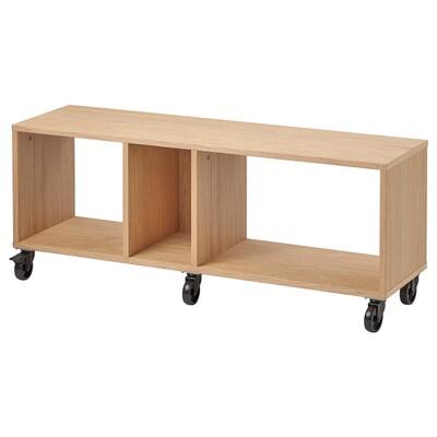 "RÅVAROR Bench on casters, oak veneer, 47 1/4x13 3/8 """