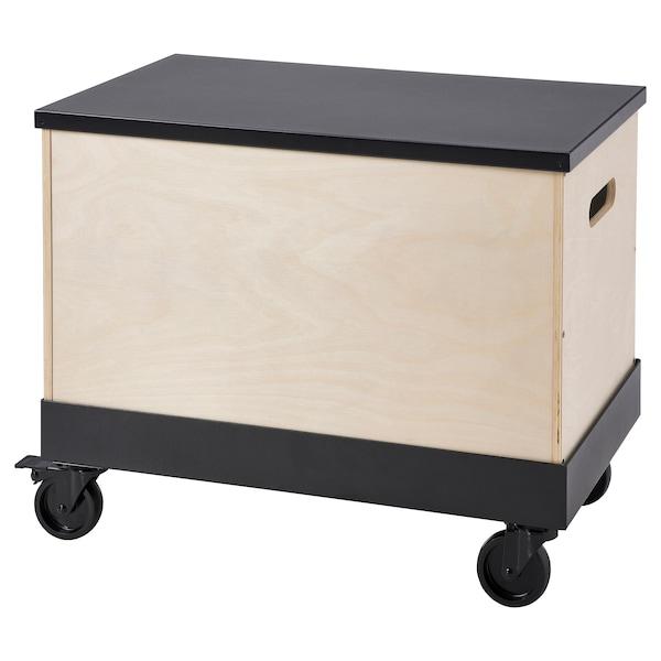 "RÅVAROR Coffee/side table on casters, birch plywood/black, 22 1/2x13 3/8 """