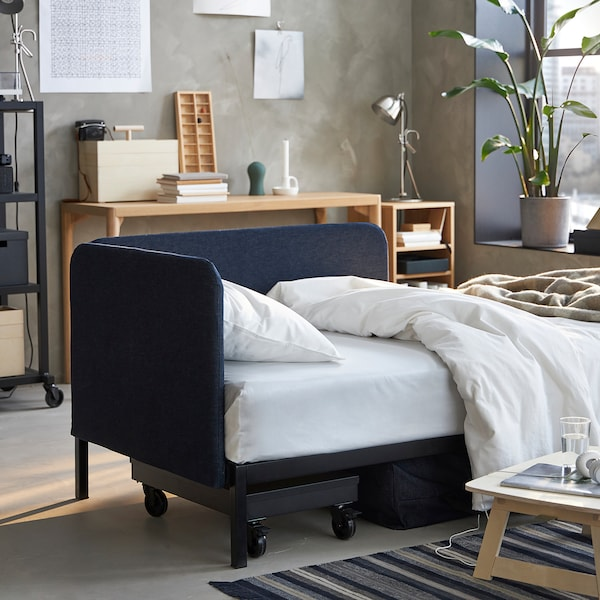 RÅVAROR Daybed with 1 mattress, dark blue/Hasvåg medium firm, Twin