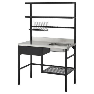 """RÅVAROR Mini-kitchen, black, 44 1/8x23 5/8x70 1/8 """""""