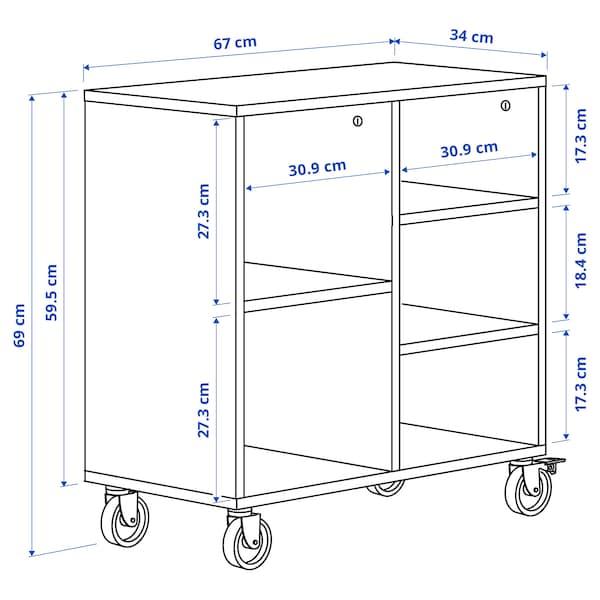 """RÅVAROR Shelf unit on casters, oak veneer, 26 3/8x27 1/8 """""""
