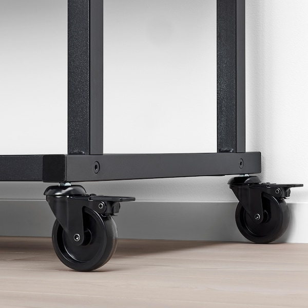 RÅVAROR Storage unit on casters, black, 39 3/8x55 1/8 ""