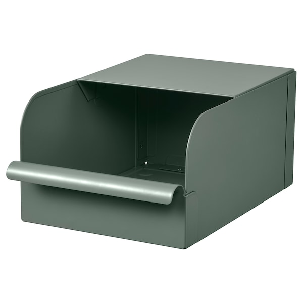 REJSA Box, gray-green/metal, 7x9 ¾x5 ""