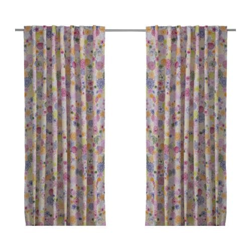 "RENATE FLORA Pair of curtains, multicolor Length: 98 "" Width: 57 "" Weight: 1 lb 12 oz  Length: 250 cm Width: 145 cm Weight: 0.80 kg"