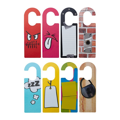 RETSAM Door handle plate IKEA Four colorful door tags printed on both sides for a total of 8 different patterns.