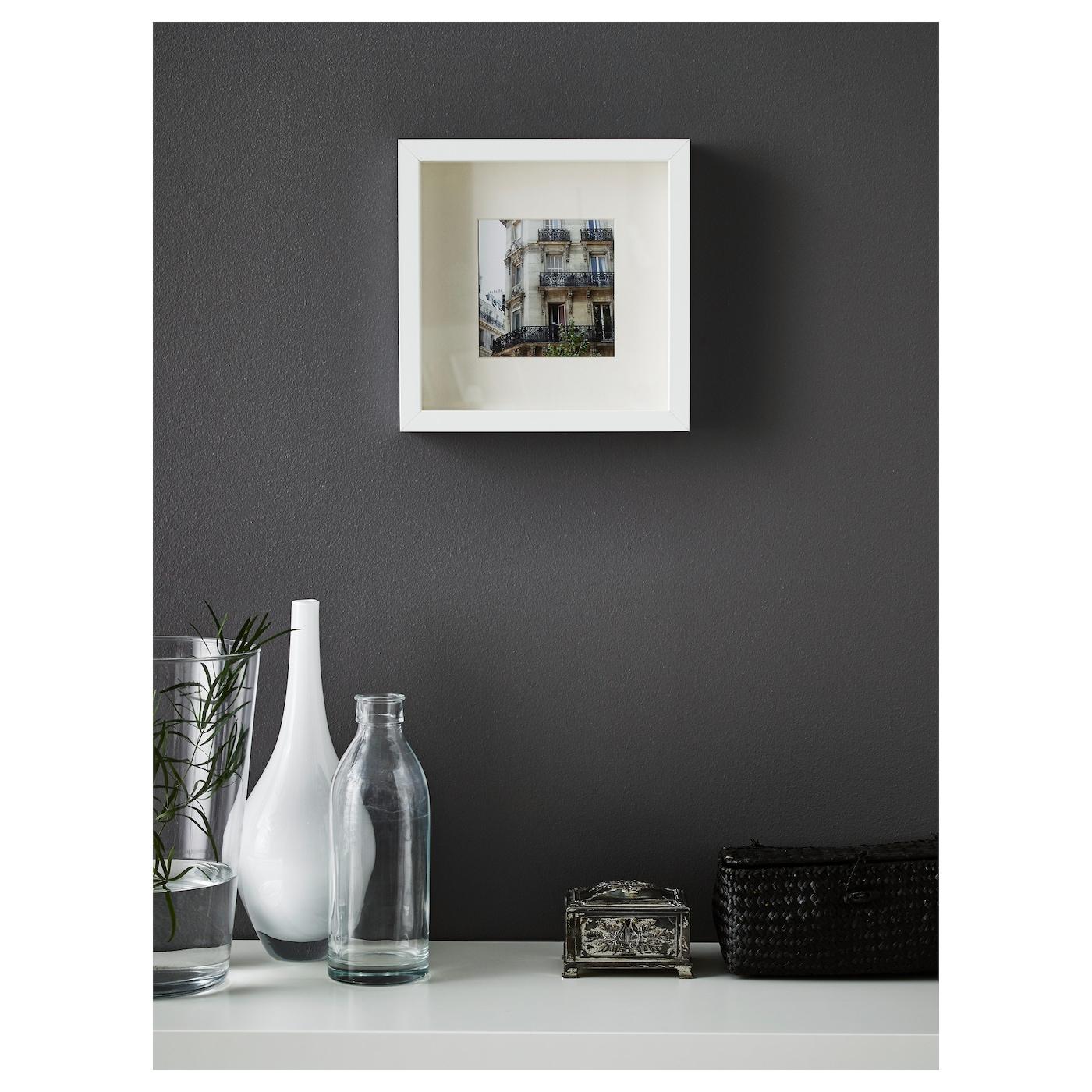 Square Deep Shadow Box Photo Picture Frame White Black 23x23cm Mount