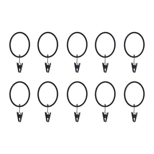 RIKTIG Curtain ring black Package quantity: 10 pack  Package quantity: 10 pack