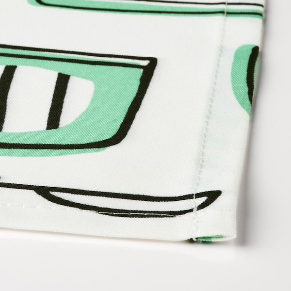 """RINNIG Apron, white/green/patterned, 27x33 """""""
