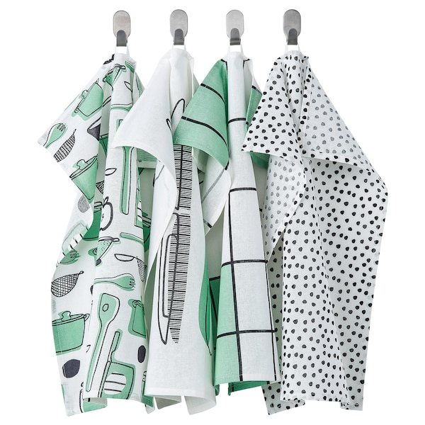 """RINNIG Dish towel, white/green/patterned, 18x24 """""""