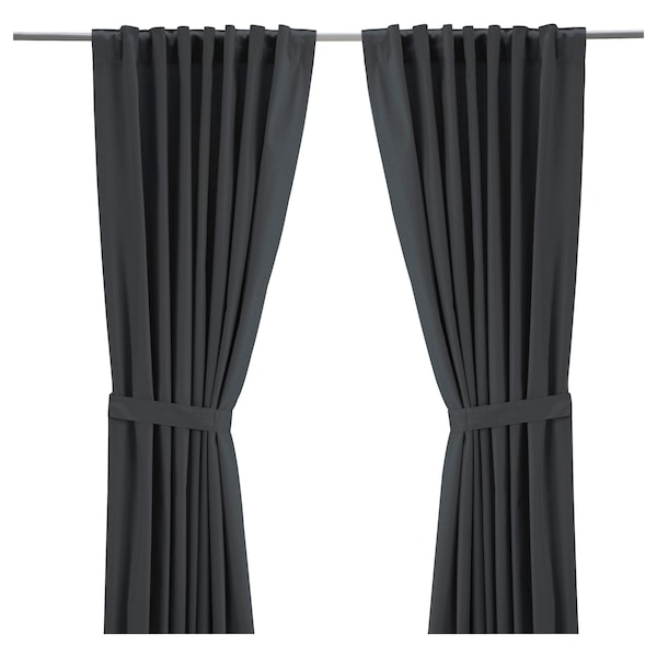 RITVA Curtains with tie-backs, 1 pair, gray, 57x98 ""