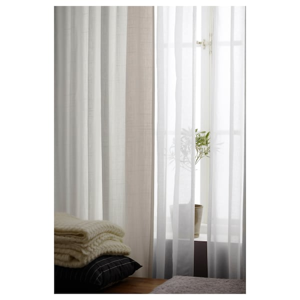 RITVA Curtains with tie-backs, 1 pair, white, 57x118 ""