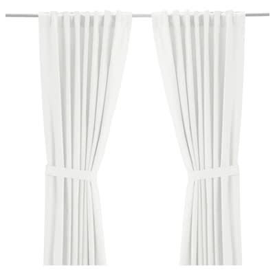 "RITVA curtains with tie-backs, 1 pair white 98 "" 57 "" 4 lb 3 oz 39.07 sq feet 2 pack"