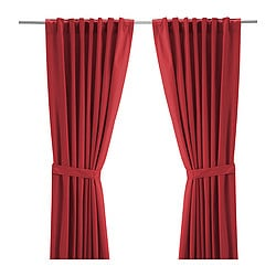 RITVA curtains with tie-backs, 1 pair, red