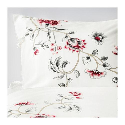 RÖDBINKA Duvet cover and pillowcase(s), white, floral patterned white/floral patterned Full/Queen (Double/Queen)