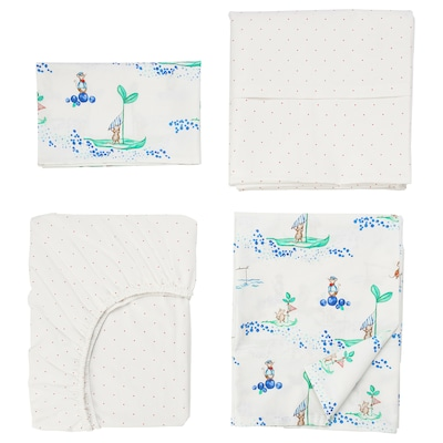 "RÖDHAKE 4-piece bedlinen set for crib sailing mouse 27 1/2 "" 52 "" 49 1/4 "" 43 1/4 "" 21 5/8 "" 13 3/4 "" 27 1/2 "" 52 """