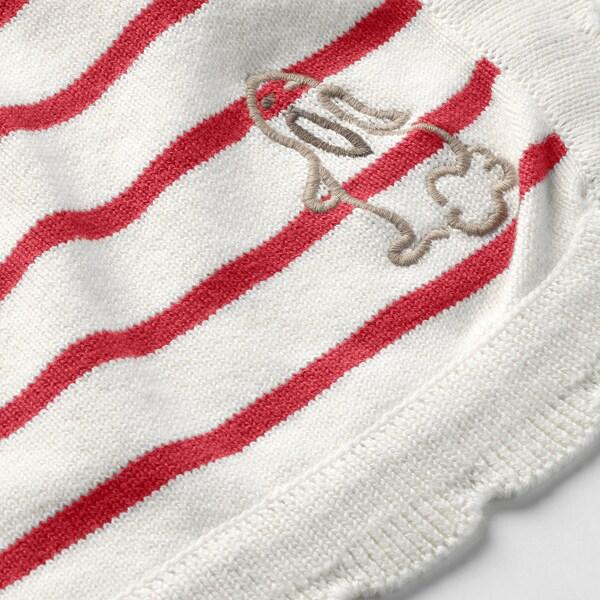 """RÖDHAKE Baby blanket, stripe/white/red, 32x39 """""""