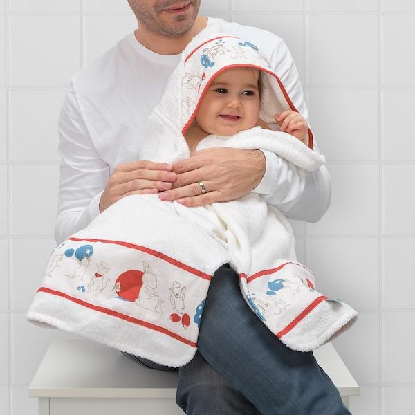 "RÖDHAKE Baby towel with hood, rabbits/blueberries pattern, 24x49 """
